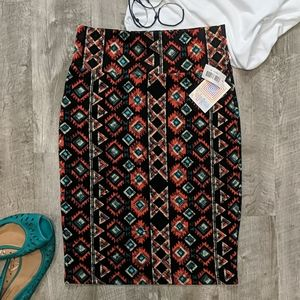 Aztec Bold Red Blue and Black Cassie Pencil Skirt